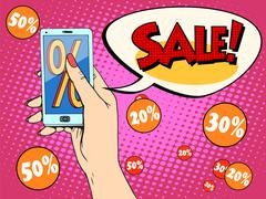 Discount online store smartphone app woman Stock Illustration