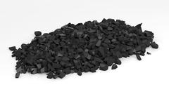 Pile of shattered black pieces of stone, isolated on white background. - stock illustration
