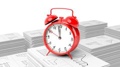 Red alarm cloack on stack of paperwork with graphs, isolated on white backgro - stock illustration