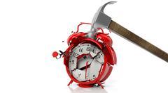 Hammer breaking red alarm clock, isolated on white background Stock Illustration