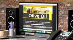 Monitor with Olive oil information on desktop with office objects. Stock Illustration