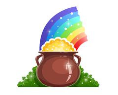 Kettle with gold and rainbow for saint Patrick's day Stock Illustration