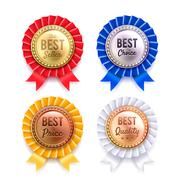 Four Round Metallic Premium Badges Set - stock illustration