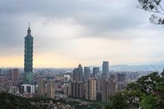 Time lapse of Taipei, Taiwan city skyline at twilight Stock Footage