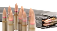 AK-47 ammunition. 7,62x39mm Defocus on a bunch of upright bullets Stock Footage