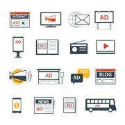 advertising media icon flat design - stock illustration