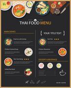 Vector thai food restaurant menu template flat design Stock Illustration