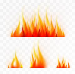 Set of isolated flames Stock Illustration
