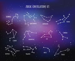 Twelve zodiacal constellations, vector design set - stock illustration