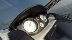 Detail of the dashboard of a boat accelerating fast Stock Footage