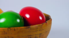 Pan Over Easter Eggs Bowl Isolated On White Stock Footage