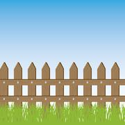 Vector illustration of grass and fence - stock illustration