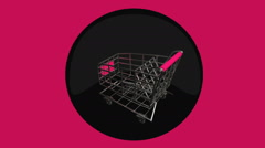 Shopping cart turn symbolism shop Stock Footage