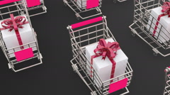 Shopping carts full of presents holiday Stock Footage