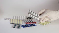 Male Hand Holding A Pack Of Medicine Tablets Stock Footage