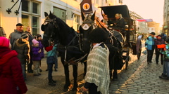 Carriage and horses on the street Stock Footage