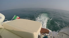 Stern of a boat navigating in the Mediterranean sea Stock Footage