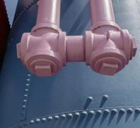 Old gas works at Gasworks Park in Seattle, junction and pipework painted pink - stock photo