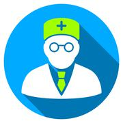 Main Physician Flat Round Icon with Long Shadow Stock Illustration