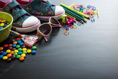Kids stuff and sweets Stock Photos