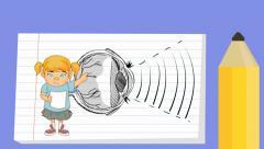 Eye - Notebook  Cartoon - girl - stock footage