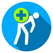 Medication Courier Flat Round Icon with Long Shadow - stock illustration
