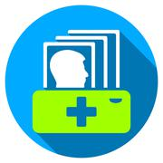 Patient Catalog Flat Round Icon with Long Shadow - stock illustration