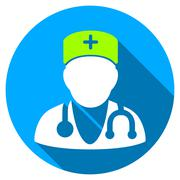 Physician Flat Round Icon with Long Shadow Stock Illustration