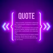 Retro neon glowing quote marks frame - stock illustration