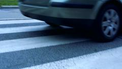 Slowmotion detail of double crosswalk with safety zone Stock Footage