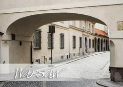 archway in a street of Warsaw - stock photo