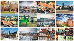 collage of Warsaw sights and monuments - stock photo