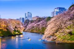 Tokyo Imperial Moat in Spring Stock Photos