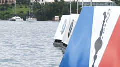 America's cup sailing series buoys in Bermuda Stock Footage