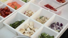 Colorful ingredients in white containers Stock Footage