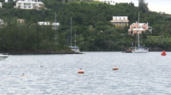 Boat navigates in Bermuda Stock Footage