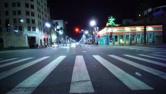 4K Driving Plates Hollywood Blvd Night 02 Front View East bound at Highland Ave Stock Footage