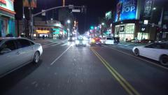 4K Driving Plates Hollywood Blvd Night 02 Rear View East bound at Highland Ave Stock Footage