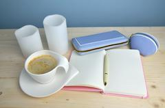 Cup of coffee, Notepad, Pen and Wallet - stock photo