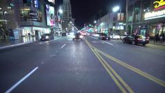 4K Driving Plates Hollywood Blvd Night 04 Rear View West bound at Highland Ave Stock Footage
