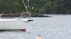 Sailing boat navigates in Bermuda Stock Footage