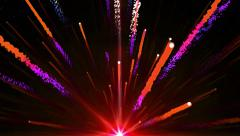 Abstract red light fireball fireworks shooting with shiny trail background - stock footage