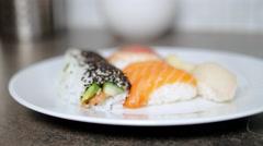 Serving Salmon Nigiri Sushi On Plate Stock Footage