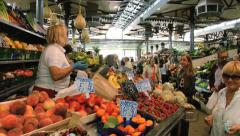 People do shopping at the Old Market in Modena, Italy. Stock Footage