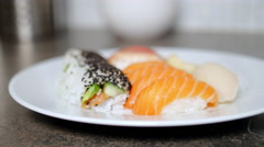 Taking Salmon Nigiri Sushi From Plate Stock Footage