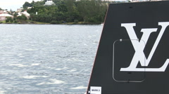 America's cup sailing series buoy in Bermuda Stock Footage