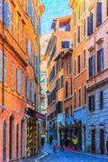 Rome Street Painting - stock illustration