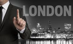 London skyline at night with businessman concept Stock Photos