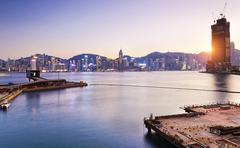 Hong Kong comercial container port - stock photo