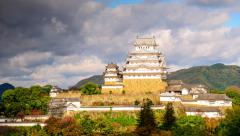 Himeji, Japan at the castle. Stock Footage
